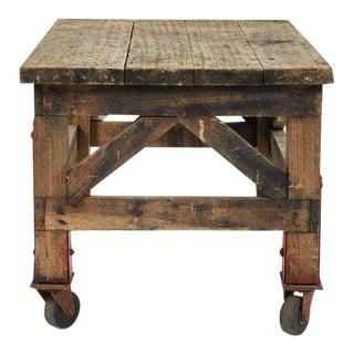 Rustic Coffee Table on Wheels For Sale