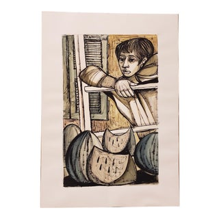 """Lucio Ranucci (Italy, B.1924) Original """"Boy With Watermelon"""" Watercolor Painting C. 1968 For Sale"""