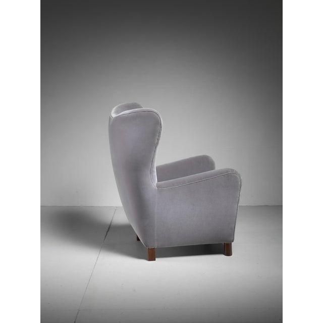 Fritz Hansen Fritz Hansen High Wingback Grey Velour Lounge Chair, Denmark, 1940s For Sale - Image 4 of 5