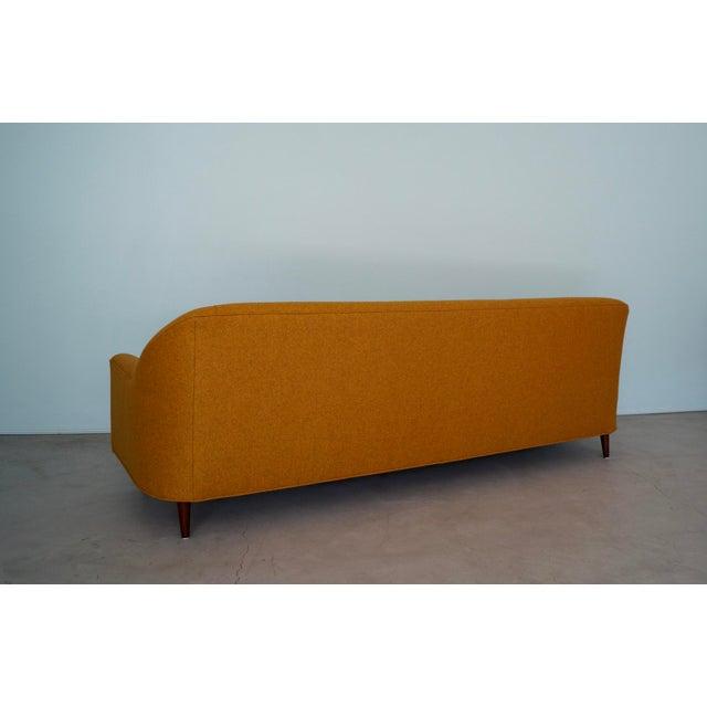 Mid-Century Modern Sofa Reupholstered in Orange Wool For Sale In Los Angeles - Image 6 of 13