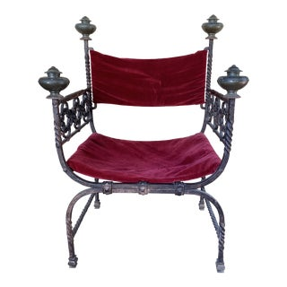 19th Century Renaissance Style Iron Chair For Sale