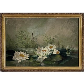Early 20th Century Water Lilies Study Oil Painting by Maggiy Fabian, Framed For Sale