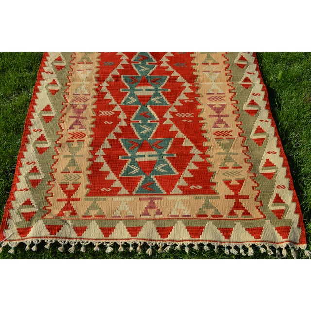 1960s Handmade Kilim Geometric Design Cappadocia Red Color Kilim Rug - 3′11″ × 5′10″ For Sale - Image 5 of 8