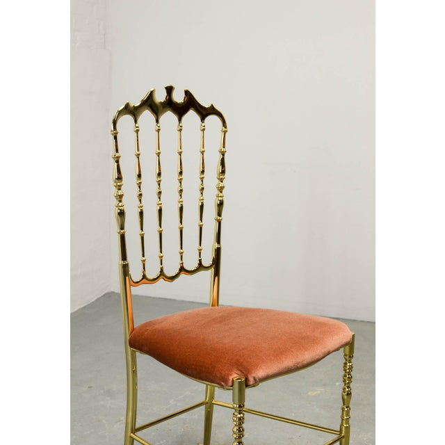 Brass Mid-Century Italian Design Side Chair by Giuseppe Gaetano Descalzi for Chiavari, Italy, 1950s For Sale - Image 7 of 11