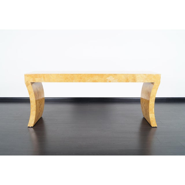 Sculptural console table by Jimeco ltda. Original craquelure lacquer finish.