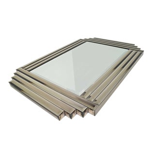 Large Beveled MIrror in Bronze Glass