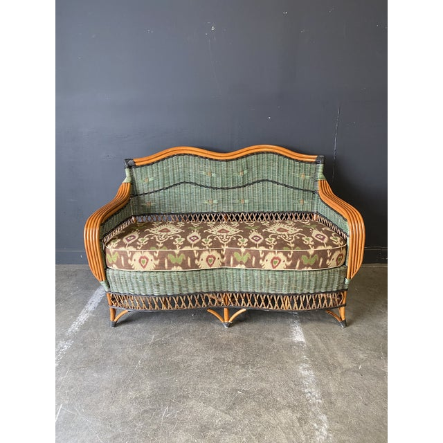 Beautiful French Vintage Grange Wicker Love seat and Coffee Table -A Set- IKAT linen fabric covered cushions. Very well...