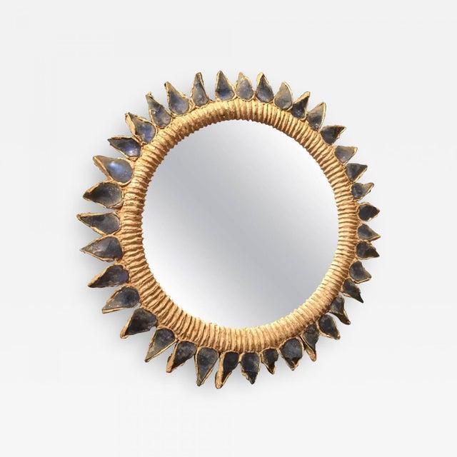 Mid-Century Modern Line Vautrin Blue Talosel Soleil Mirror For Sale - Image 3 of 3