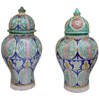 Antique Andalusian Ceramic Vases- S/2 For Sale