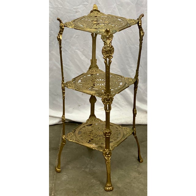 Metal Vintage Three Tier Hollywood Regency Style Brass Plant Stand For Sale - Image 7 of 8