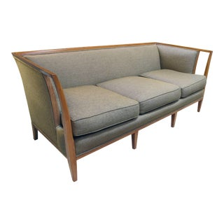 Shapely American T.H. Robsjohn-Gibbings Style Sofa with Flared Openwork Arms For Sale