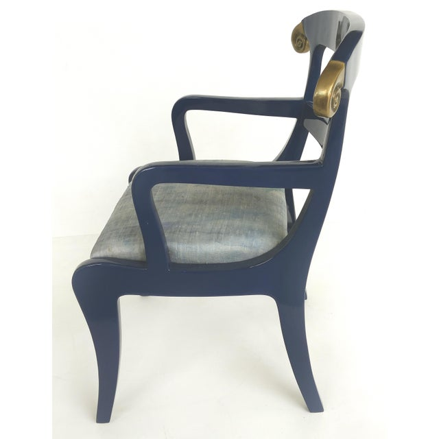 Klismos Ram's Horn Lacquered Arm Chairs- a Pair For Sale - Image 4 of 10