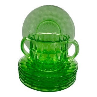 Art Deco Geometric Uranium Glass Dessert Plates W/ Sugar Bowl - Set of 7 For Sale