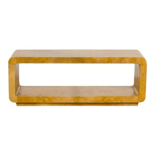 Dark Parchment Covered Coffee Table Bench With Lower Shelf-Floor Sample For Sale