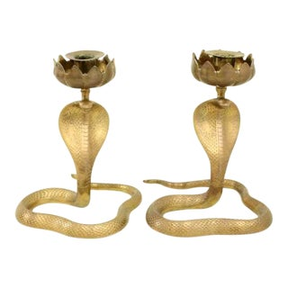 1950s Cobra Brass Candlesticks - a Pair For Sale