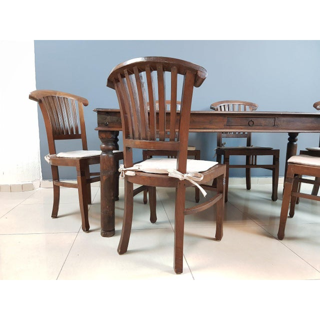 Mid 20th Century Vintage Wood Colonial Dining Set Table and 6 Chairs For Sale - Image 5 of 13