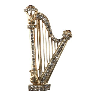 1940s Sterling Silver Classical Harp Brooch Pin Vintage Musical Instrument For Sale