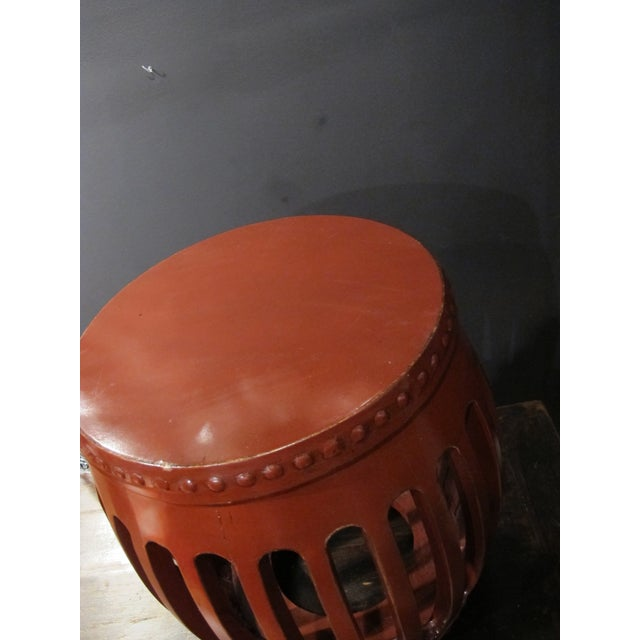 1900s Chinese Red Lacquer Pumpkin Stool For Sale - Image 4 of 5