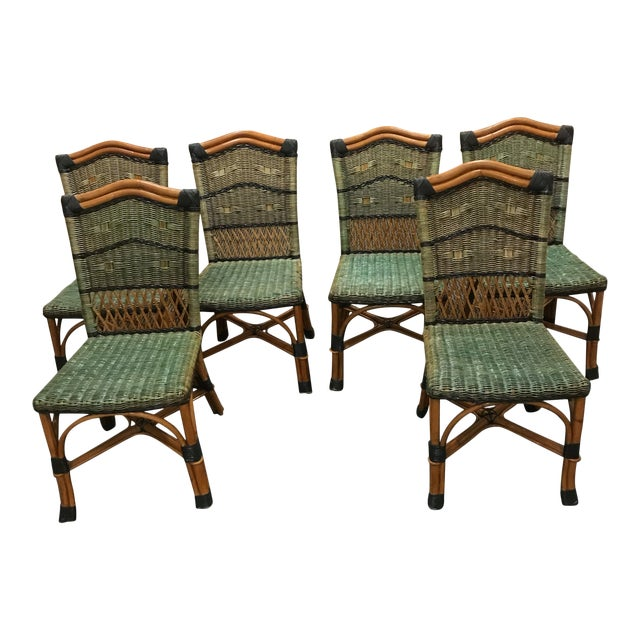 Grange Stained Rattan and Wood Dining or Patio Chairs -Set of 6 For Sale