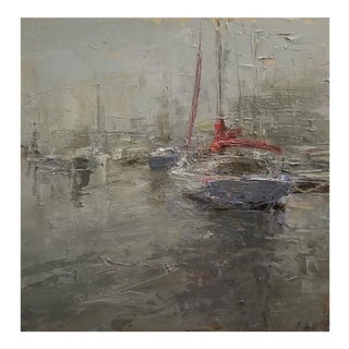 "Beckham Oil Painting ""Fog"", Contemporary Gray Harbor Scene For Sale"