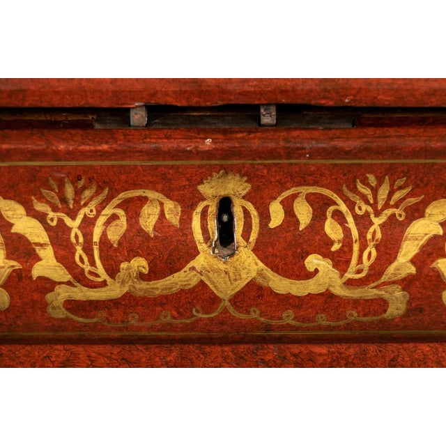 19th Century Biedermeier Continental Faux Bois Painted Pine Cylinder Secretary Bookcase For Sale - Image 10 of 12