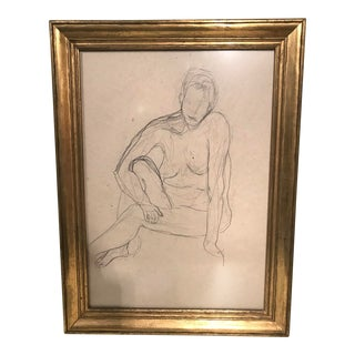Pencil Drawing Gilded Frame For Sale