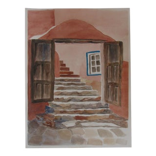 Southwestern Adobe Portal Watercolor For Sale