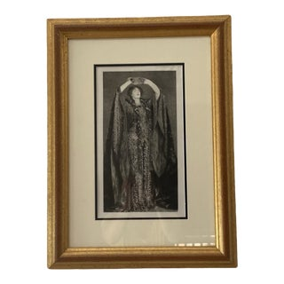 Late 19th Century Portrait of Ellen Terry as Lady Macbeth After Etching by Gaston Manchon, Framed For Sale