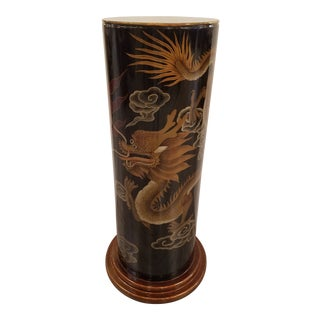 Asian Black Lacquer Pedistal With Dragon Decoration For Sale