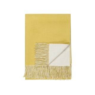 Baby Alpaca Reversible Throw, Lemon For Sale