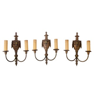 20th Century French Bronze Urn Sconces - Set of 3