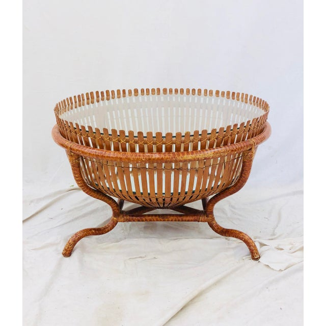 Vintage Rattan & Glass Top Coffee Table For Sale - Image 4 of 12