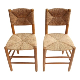 Charlotte Perriand Oak Side Chairs - A Pair For Sale