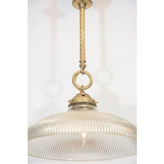 Early 20th Century Brass Rope Pendants With Holophane Glass Shades - a Pair Preview