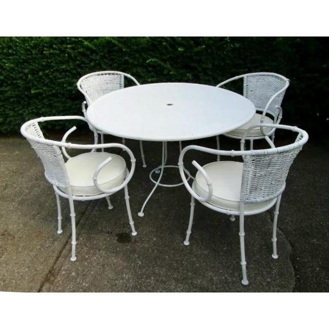 Iron Bamboo Palm Beach Regency Patio Table and 4 Chairs