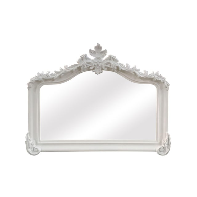 Blenheim French Traditional White Solid Wood Mantle Mirror For Sale - Image 4 of 4