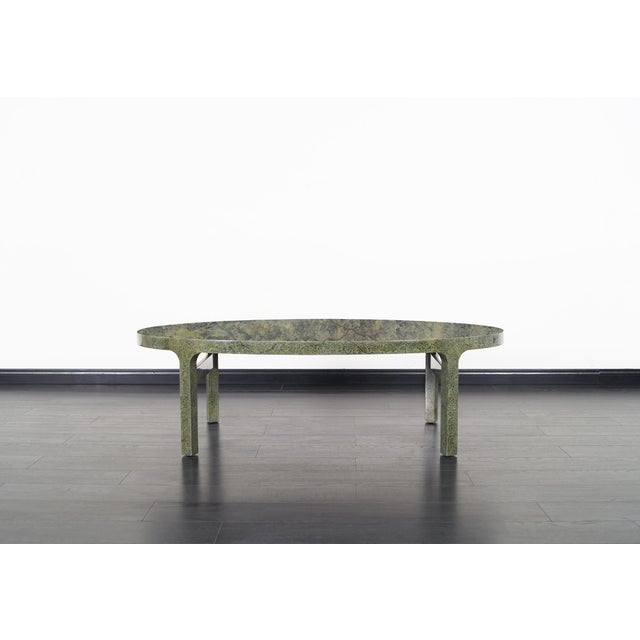 Vintage faux goatskin coffee table in the style of Karl Springer.