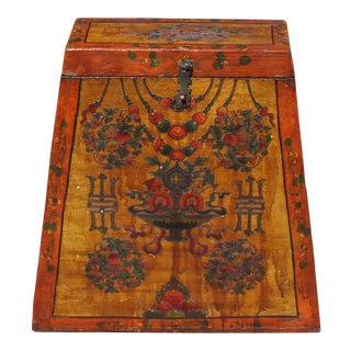 Chinese Tibetan Red Orange Yellow Floral Graphic Trunk Box Table For Sale