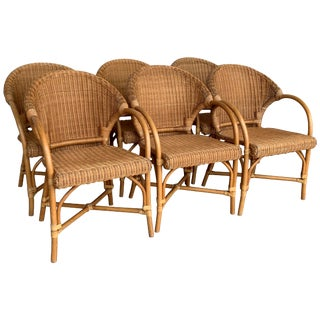 Midcentury Set of Six Bamboo and Rattan Dining Room Armchairs For Sale