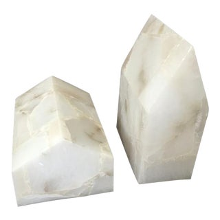 White Marble Bookends - A Pair