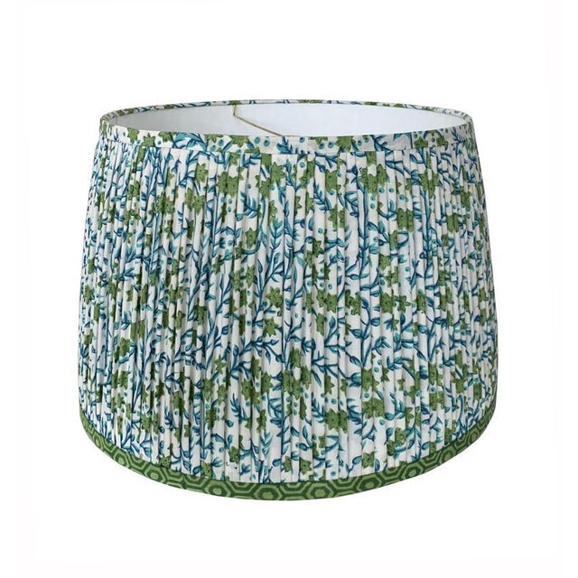 Pleated Lampshade- Green and Blue Lamp Shade-Blue Floral Pleated Lampshade -Custom Made-To-Order-Home Decor-Gathered Lamp Shade-Floral Lamp For Sale - Image 4 of 4