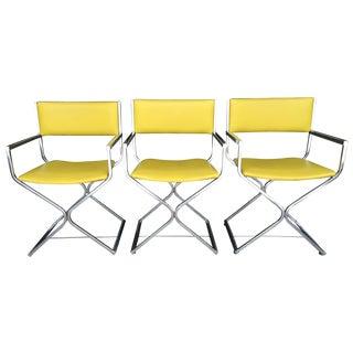 Vintage Chrome Directors Chairs-Set of 3