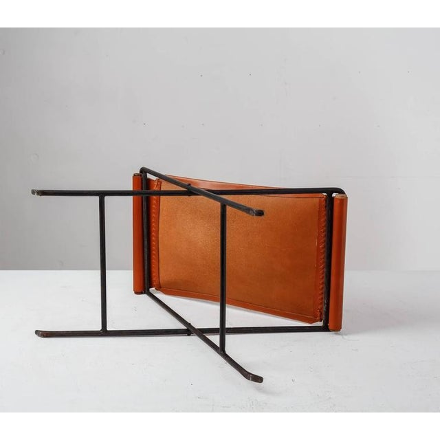 1960s Cleo Baldon Leather and Iron Folding Stool, California, 1960s For Sale - Image 5 of 10