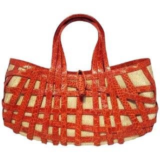 Nancy Gonzalez Red Crocodile Basket Handbag For Sale