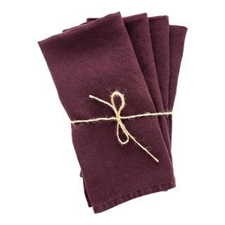 Aubergine Linen Napkins - Set of 4 For Sale