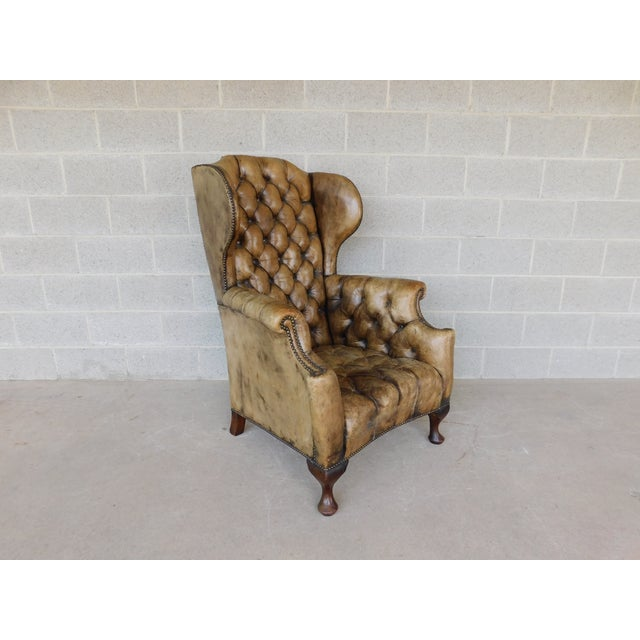 Antique English Tufted Leather Georgian Style Wingback Chair For Sale - Image 12 of 12