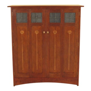Traditional Stickley Harvey Ellis Inlay Cherry Entertainment Cabinet For Sale