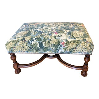 Spanish Colonial Ottoman Bench by Charles Pollock - W Scalamandre Colony Marly Cut Velvet For Sale