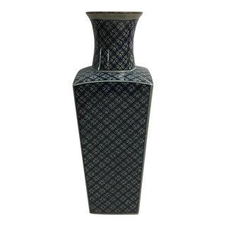Large Vintage Blue Geometric Fitz & Foyd Vase For Sale