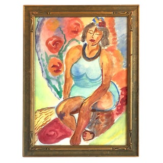 1960s Fauvist Tropical Female Watercolor Painting For Sale